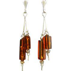 Amber Double Dangle Sterling Silver Earrings from cajltd on Ruby Lane