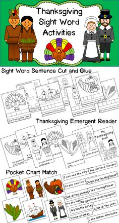 Reinforce basic sight words and Thanksgiving vocabulary with this set of activities! Great for literacy stations and work work.   $3