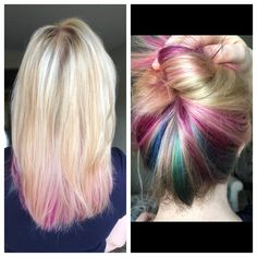 Blonde hair with magenta, purple, teal, and blue underneath! Blonde Peekaboo Highlights, Peekaboo Hair Colors, Hair Color Purple, Blonde Color, Cool Hair Color, Dyed Blonde Hair, Blonde Hair Looks, Winter Hairstyles, Cool Hairstyles