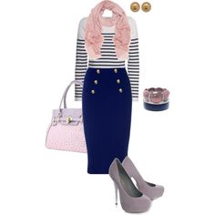 Work outfit... navy blue skirt, stripes and lavender accessories.