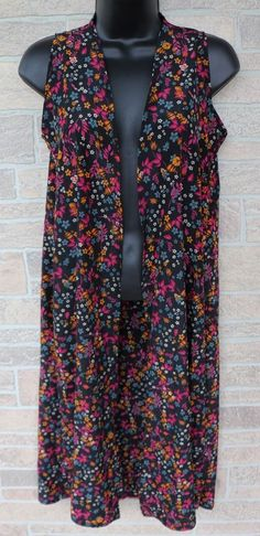 535e6a3cf155 LuLaRoe Joy Sleeveless Open Front Duster Vest Floral Teal Blue Black Size XS  Approximate measurements are Bust length 41 inches In great used condition  with ...