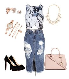 """""""Charm Blue"""" by taisa-cecilia-lima-caires on Polyvore featuring Topshop, Michael Kors, One Teaspoon, Christian Louboutin, Anne Klein, GUESS and Forever 21"""