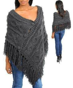 Fashion Square Fringe Knitted Stylish Sweater Poncho(T.Risultati immagini per styling a knit rectangular shawlCapes, Ponchos, Shawls and Wraps for WomenThis Pin was discovered by LorStylish Knitted Sweaters to Make Your Winter Warm Poncho Shawl, Poncho Sweater, Knitted Poncho, Knitted Shawls, Crochet Poncho Patterns, Knit Or Crochet, Crochet Shawl, Knitting Patterns, Hippie Crochet