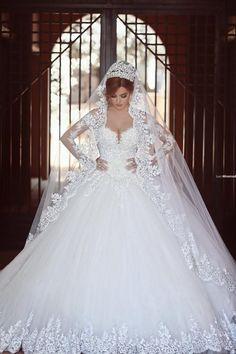 White Princess Ball Gown Long Sleeves Lace Diamond Wedding Dress - Shedressing.com