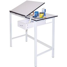 This Martin Manchester Split Top Hobby Table is ideal for drafting, art, hobbies and most multi-purpose uses. This hobby table features a sturdy base, a split top tilting section and a four-post heavy steel construction.