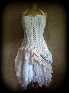 Stripe bustle dress by NaturallyBohemian - Steampunk Steampunk Clothing - Smoked Glass Goggles