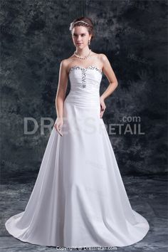 Elegant-Taffeta-Sweetheart-Court-Train-Wedding-Dress