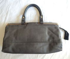 ~ LANVIN MUTED BLUE GRAY LEATHER TOTE BAG (FOREVER CHIC!) ~ #LANVIN #TOTE