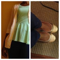 Mint, blue and polka dots , fun and comfy and gold shoes