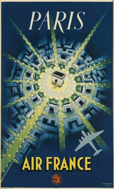 PIERRE BAUDOUIN (1921-1971) PARIS / AIR FRANCE. 1947.  39x24 inches, 99x61 cm. La Generale Publicite, Paris.