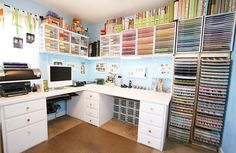 Amanda (from Kevin & Amanda.com) has/had a CRAZY awesome craft room. I just had to pin this for ideas on how to organize mine if I'm ever lucky enough to have that kind of space (and time)!