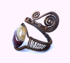 Mexican Laguna Lace agate copper Wire wrapped ring by PillarOfSaltStudio