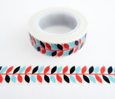 Single roll of washi masking tape with modern red and blue flower pattern. Great for travel journals, scrapbooking, gift wrapping, decorating cards and envelopes and more! Add a little dash of cutenes
