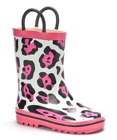 Look what I found on #zulily! White & Pink Cheetah Rain Boot #zulilyfinds