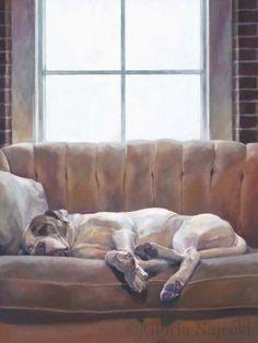 Original painting of dog sleeping on coach.  The Dream for wp site.jpg Gloriapaintsdogs.com