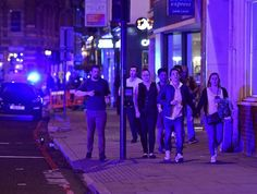 It began at 10.08pm as a white van careened over London Bridge, hitting pedestrians. Three men got out at Borough Market and began stabbing people with long knives. People fled the area.