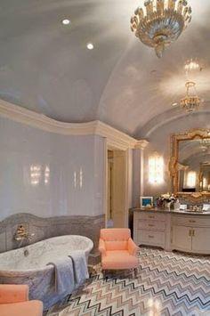 traditional master bathroom chevron floor tile free standing tub