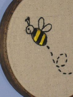 Buzzing Bumble Bee Embroidery Wall Art, 4 inch Walnut Stained Wood Frame #dteam