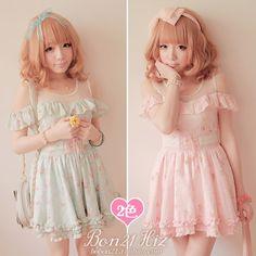 BoBON21 {heart} exclusive original design strapless floral dress gauze stitching Dresses D0825