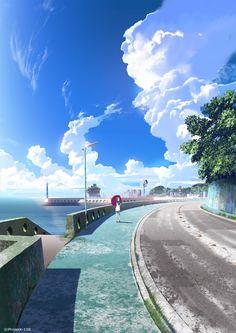 from Nagi no Asukara Fantasy Landscape, Landscape Art, Fantasy Art, Scenery Background, Animation Background, Anime Scenery Wallpaper, Anime Artwork, Sky Anime, Manga Kawaii