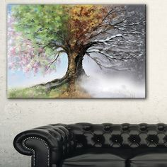 Tree with Four Seasons - Tree Painting Canvas Art Print