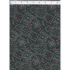Paisley Bandanna Western Black and Red Quality Cotton Fabric. www.americasbestthreads.com
