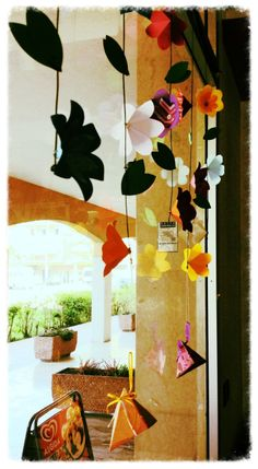 Let's party for spring! Hanging flowers and party favors.