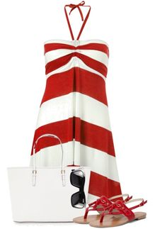 Stripped Sun dress I could wear this to a Buckeye Game LOL