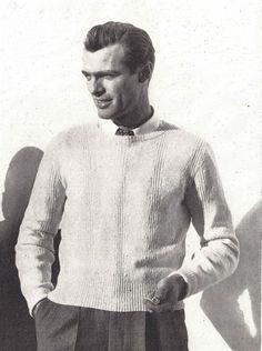 Rib & Twist • 1940s Knitting Knit Sweater Pullover Jumper Top • 40s Vogue Vintage Pattern • Retro Men's Digital PDF by TheStarShop on Etsy