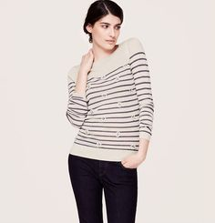 Stripe Embellished Sweater   Loft