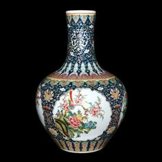 A Fine and Massive Famille-Rose Birds and Flowers Vase, Qing Dynasty, Qianlong Six Character Mark and of the Period (1736-1795)