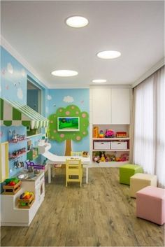 Are you searching for some adorable kids' playroom ideas? Take a look at these reference we have. Have fun creating your beloved ones a room to spend hours in! Daycare Rooms, Home Daycare, Playroom Decor, Kids Decor, Home Decor, Playroom Ideas, Colorful Playroom, Decor Ideas, Decorating Ideas