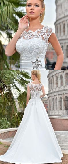 NEW! Delicate Tulle & Satin Scoop Neckline A-line Wedding Dress With Lace Appliques & Pockets