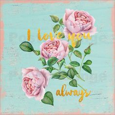 UtArt Illustrationen - Ich liebe dich- immer #quote #illustration #watercolor #vintage #shabby #posterlounge #roses #rose #floral #utart #typography #love