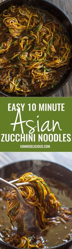 Easy 10 Minute Asian Zucchini Noodles (low-carb, Paleo)