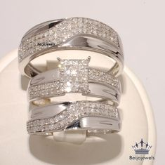 10K White Gold His and Her Diamond Engagement Bridal Wedding Band Trio Ring Set #beijojewels
