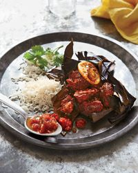 Yucatan Pork with Annatto and Ancho Chiles  This classic Mexican dish of pork shoulder and spices uses a double layer of banana leaves as a flavorful pouch for cooking