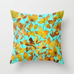 Autumn Leaves Azure Sky Throw Pillow by #PatriciaSheaDesigns