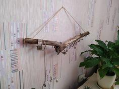 Driftwood jewelry organizer wall hanging jewelry display | Etsy Jewelry Organizer Wall, Wall Organization, Jewelry Organization, Boho Bedroom Decor, Boho Decor, Boho Room, Rustic Decor, Driftwood Jewelry, Boho Jewelry