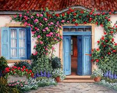 Barbara Felisky Rose Around The Door painting is available for sale; this Barbara Felisky Rose Around The Door art Painting is at a discount of off. Online Gallery, Art Gallery, Cottage Art, Cottage Door, Impressionist Paintings, Art Graphique, Painted Doors, House Painting, Photos