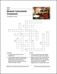 Musical Instruments Word Search, Crossword Puzzle and More ...