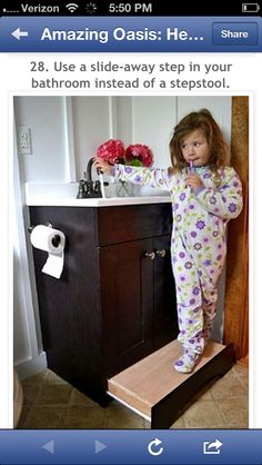 Have a built in stool for kids to reach tap