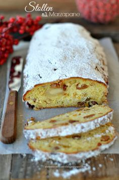 Christmas Stollen al Marzapane - Gabila Gerardi German Bakery, Marzipan Cake, Almond Paste, Christmas Past, Christmas Ideas, Kefir, Christmas Cookies, Sweets, Ethnic Recipes