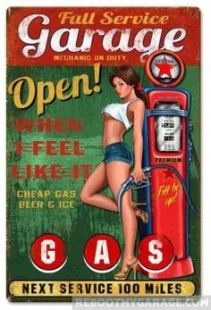 Plaque publicitaire pin up sexy et pompe a essence garage open tole metal Garage Art, Garage Signs, Garage Metal, Vintage Advertisements, Vintage Ads, Voitures Hot Wheels, Mode Pin Up, Pin Up Girl Tattoo, Pompe A Essence