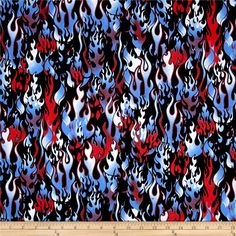 Novelties Flames White&Blue&Red/Black from @fabricdotcom  Designed for Fabri-Quilt, this cotton print fabric is perfect for quilting, apparel, and home decor accents. Colors include black, white, shades of red, and shades of blue.