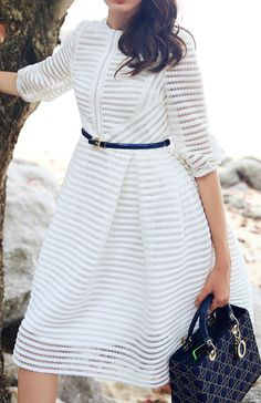 White Zippered Half Sleeve Hollow Striped Flare Dress -SheIn(Sheinside)