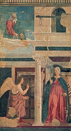 """artist-francesca:  """" Annunciation by Piero della Francesca  Size: 193x329 cm  Medium: fresco, wall"""""""