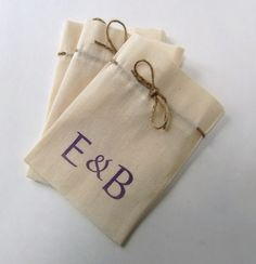 Wedding Favor Bags  Natural Cotton Calico with by IzzyandLoll, £1.25