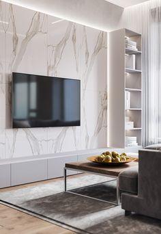 Modern Tv Room, Modern Tv Units, Living Room Modern, Home Living Room, Living Room Decor, Living Room Wall Units, Living Room Tv Unit Designs, Home Room Design, Apartment Design