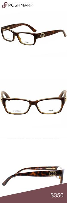Gucci Womens Havana Plastic Rectangle Eyeglasses Set yourself apart when you wear these business with personality glasses. The frames feature a stylish rectangle frames feature a stylish havana color, while total protection completes the design.   Gucci Womens GG 3773/U Z3Q Havana Plastic Rectangle Eyeglasses-53mm  Color options: Havana Frame style: Optical Model: GG 3773/U Z3Q 53mm Frame material: Plastic Dimensions: Lens 53mm x bridge 15mm x arms 140mm Gucci Accessories Glasses